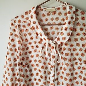 Modcloth | Pumpkin Blouse Peter Pan Collar